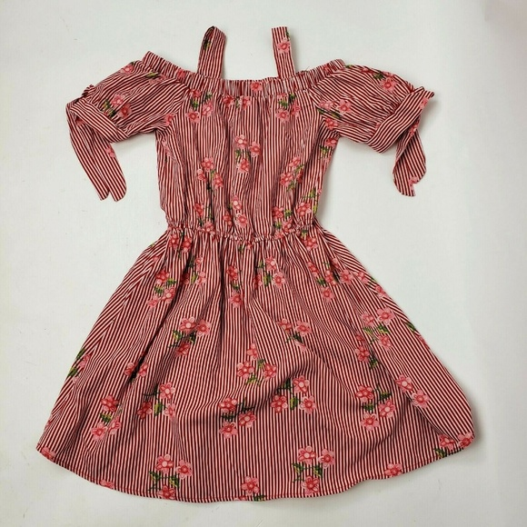 Lily Bleu Other - LILY BLEU Red Striped Floral Girl's Dress Sz 10